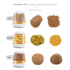 FinaMill - Battery Operated Spice Grinder Gift Pack - White