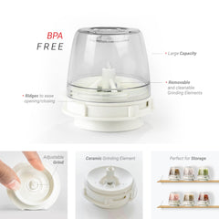FinaMill - Battery Operated Spice Grinder. 1 Mill 2 Pods Included - White