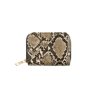"""Fashion"" Zippered Mini Wallet- Brown Snake Skin"