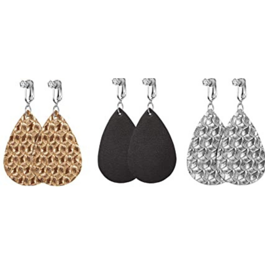 Trendy Clip On Earrings- Metallic - 3 Pairs