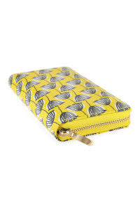 """Angie"" Clutch Zipper Wallet- Yellow Stripe Floral"