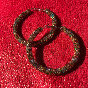 Holiday Glam Glitter Hoops- Colorful Shine