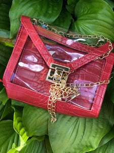 """Fashionista"" Trendy Clear Purse -Red"