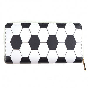 """Angie"" Clutch Zipper Wallet- Soccer Design"