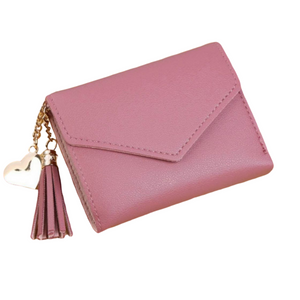 """Tassle Me Not"" Mini Wallet- Mauve"