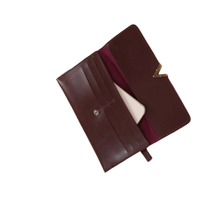 """V"" Luxe Two Tone Wallet- Burgundy"