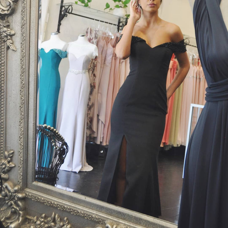 Beaded Bellini Gown - Black