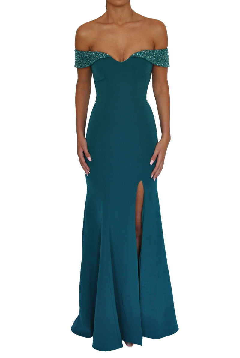 Beaded Bellini Gown - Emerald