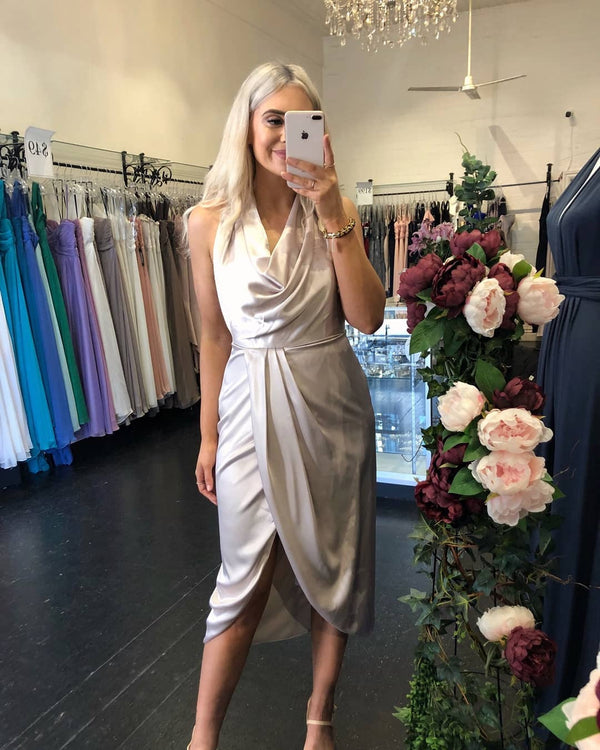 Sienna Satin Dress - Oyster