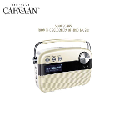 Saregama Carvaan Hindi - Portable Music Player with 5000 Preloaded Songs, FM/BT/AUX (Porcelain White)