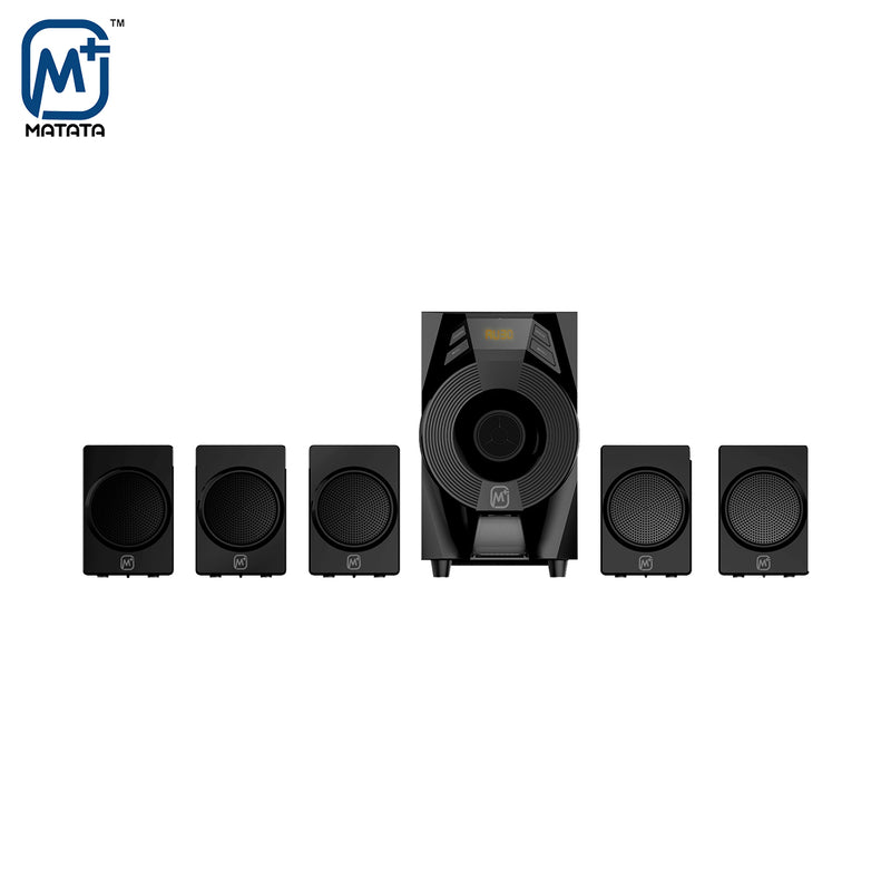Matata MTM51376 True 30W 5.1 Channel Multimedia Speaker with Built in Amplifier, LED Display, Multi Connectivity - Bluetooth/AUX/USB, Remote Control (Black)