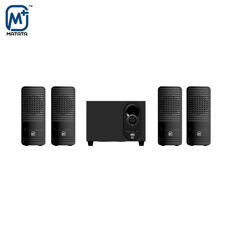 Matata MTM41311 True 12W 4.1 Channel Multimedia Speaker with Built in Amplifier & Multi Connectivity - Bluetooth/AUX/USB, Remote Control (Black)