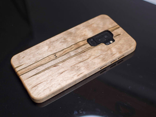 Figured Ambrosia Maple Wood Case for Samsung Galaxy S9 Plus Kerf Case