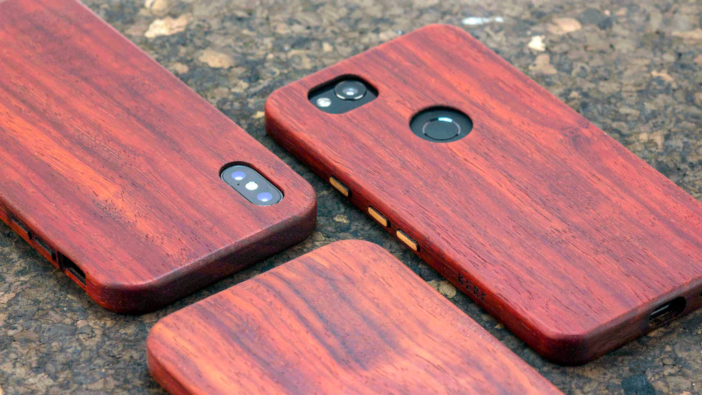padauk iphone x pixel 2 handmade wood phone case