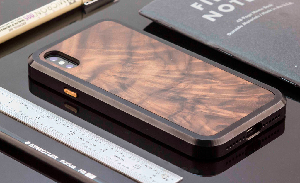 Wood and Metal case for iPhone X