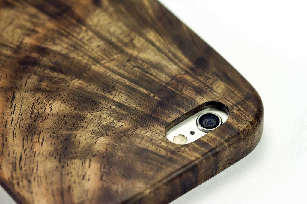 wood iphone 7 case - figured walnut - detail view - lifestyle