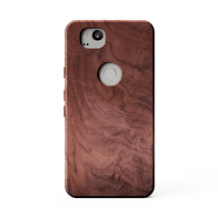 figured walnut wood kerfcase for google pixel 2