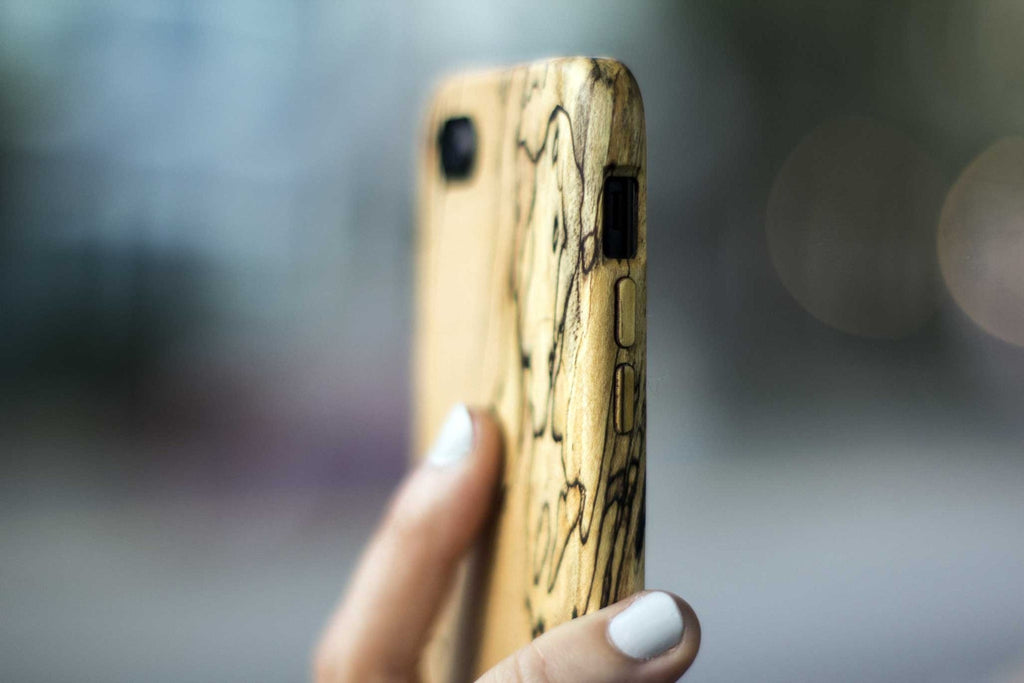 wood iPhone 7 Case - spalted maple - side view outside - lifestyle