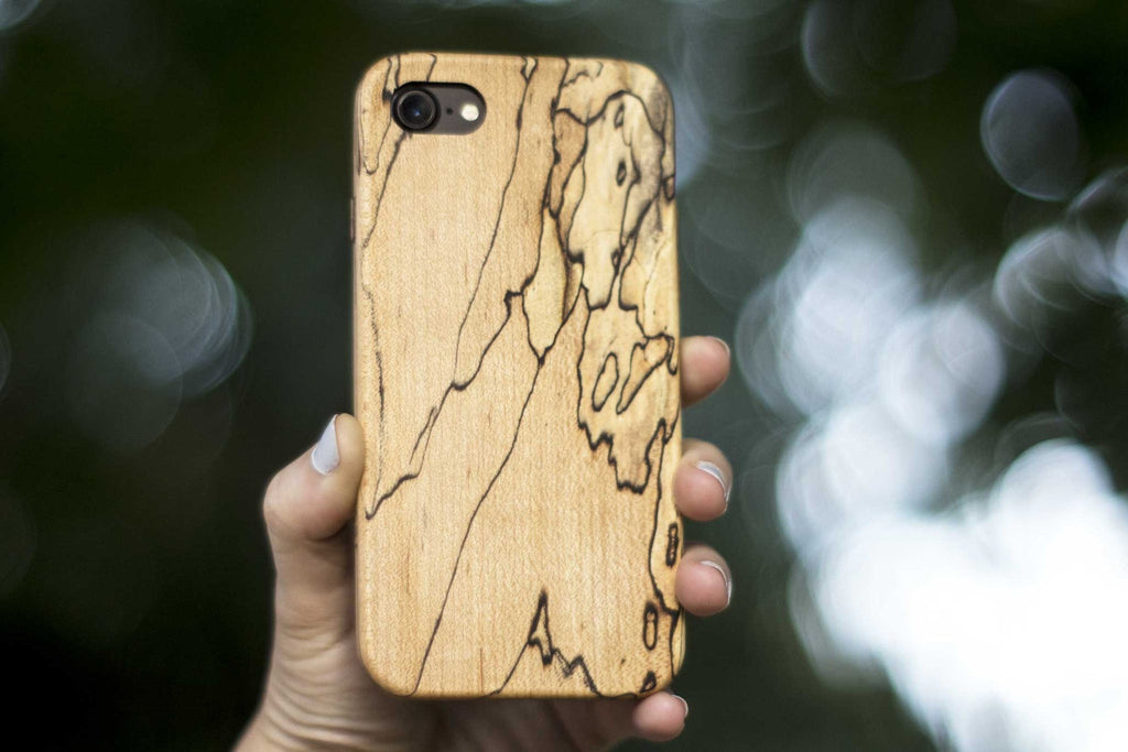 wood iPhone 7 Case - spalted maple - back view outside tree - lifestyle