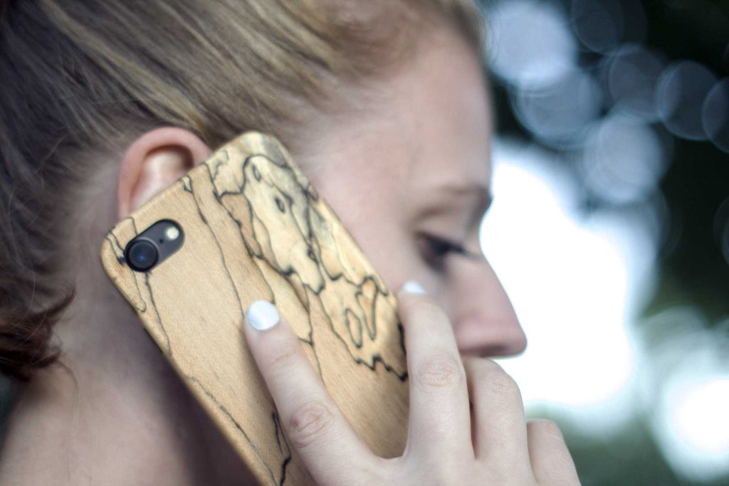 wood iPhone 7 Case - spalted maple - talking view outside - lifestyle