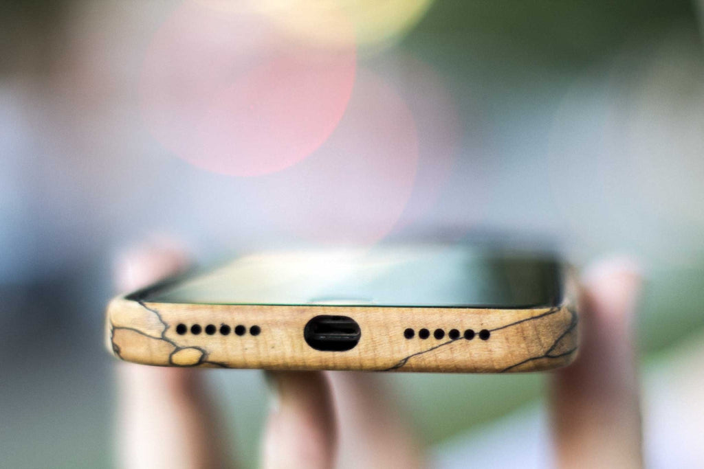 wood iPhone 7 Case - spalted maple - bottom opening view outside - lifestyle