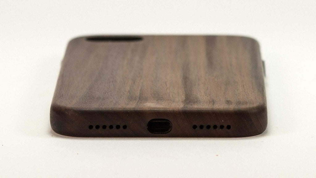 Wood iPhone 7 Plus Case - Bulletwood - end view studio -  Kerfcase - Lifestyle
