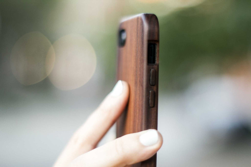 Wood iPhone 7 Plus Case - Bulletwood - side view outside -  Kerfcase - Lifestyle