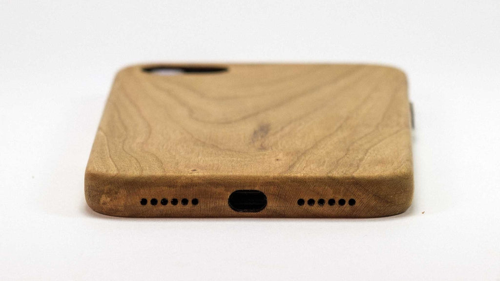Wood iPhone 7 Plus Case - Cherry - end view studio -  Kerfcase - Lifestyle
