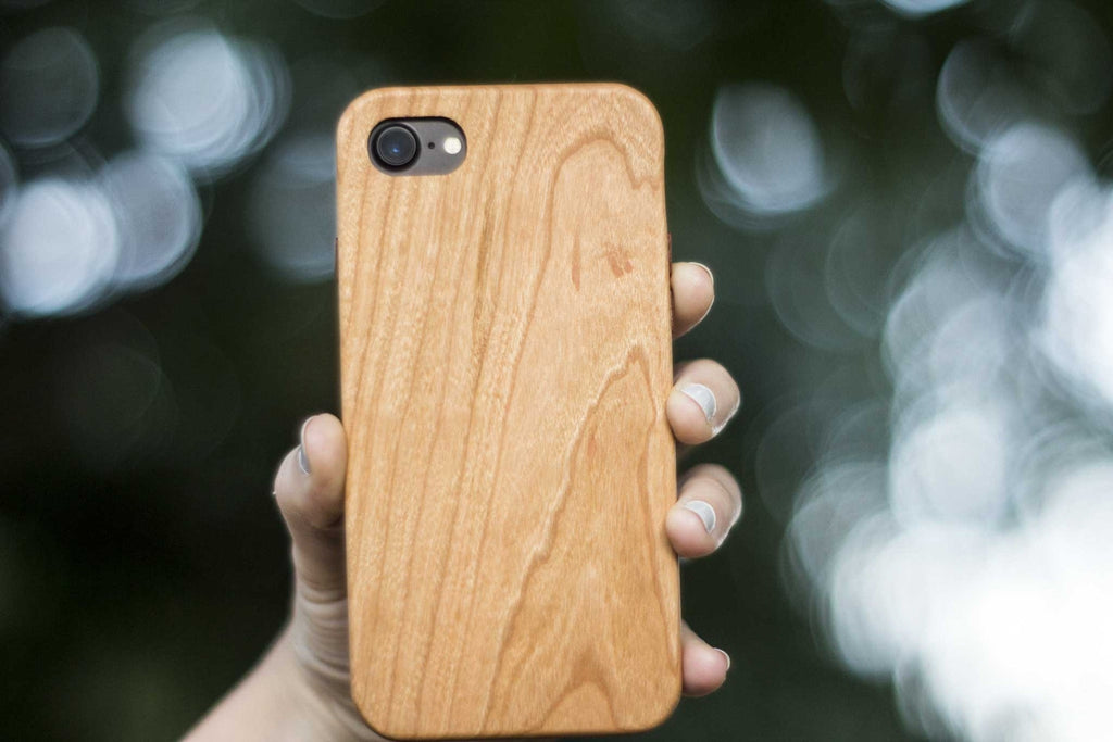 wood iPhone 7 Case - back tree view - cherry- Lifestyle