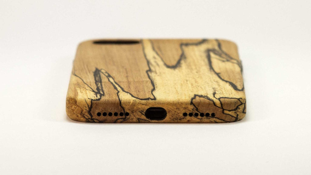 Wood iPhone 7 Plus Case - spalted maple -bottom view studio -  Kerfcase - Lifestyle