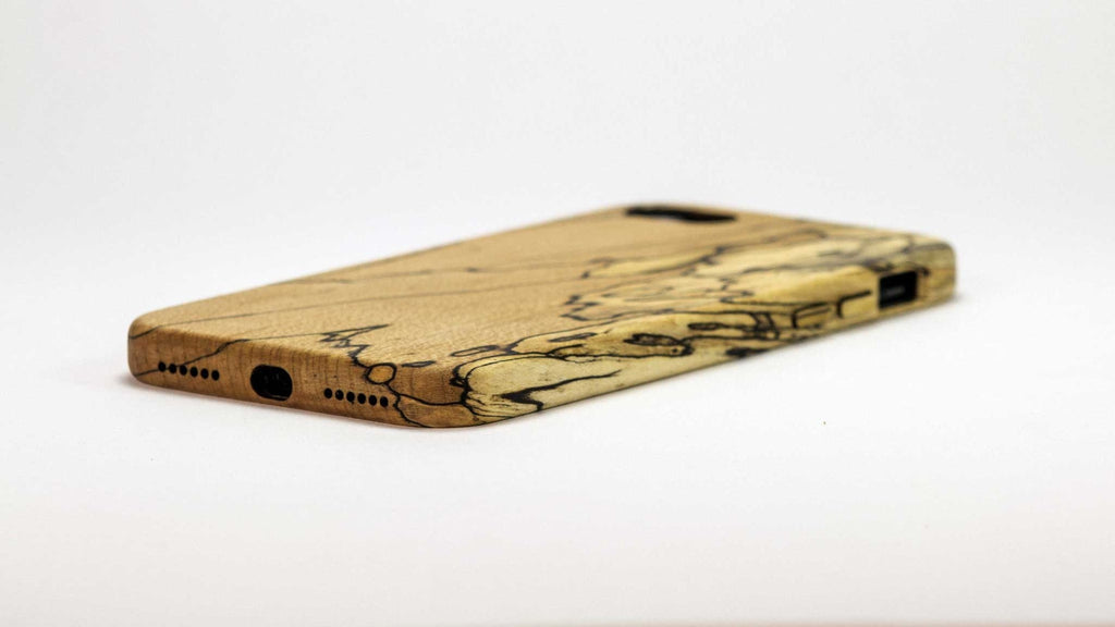 Wood iPhone 7 Plus Case - spalted maple - bottom view side studio -  Kerfcase - Lifestyle