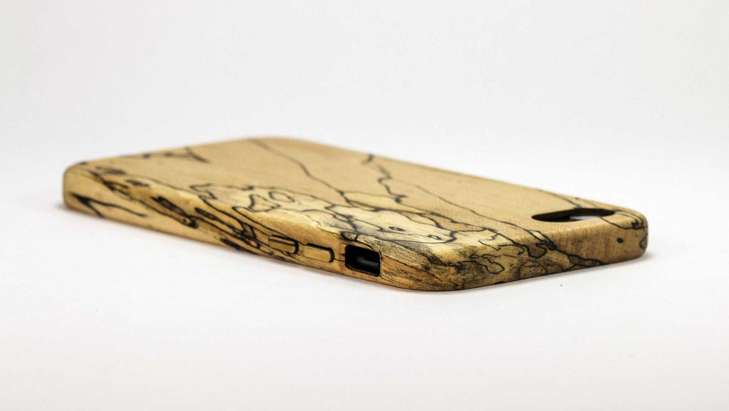 Wood iPhone 7 Plus Case - spalted maple - top side view studio -  Kerfcase - Lifestyle