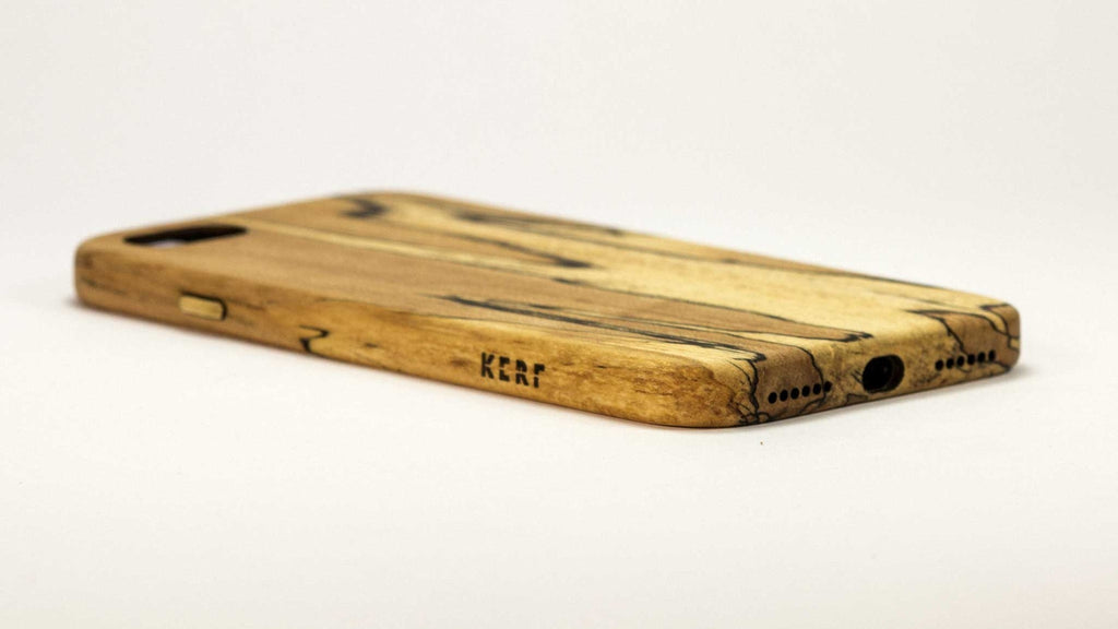 Wood iPhone 7 Plus Case - spalted maple - power side studio view -  Kerfcase - Lifestyle
