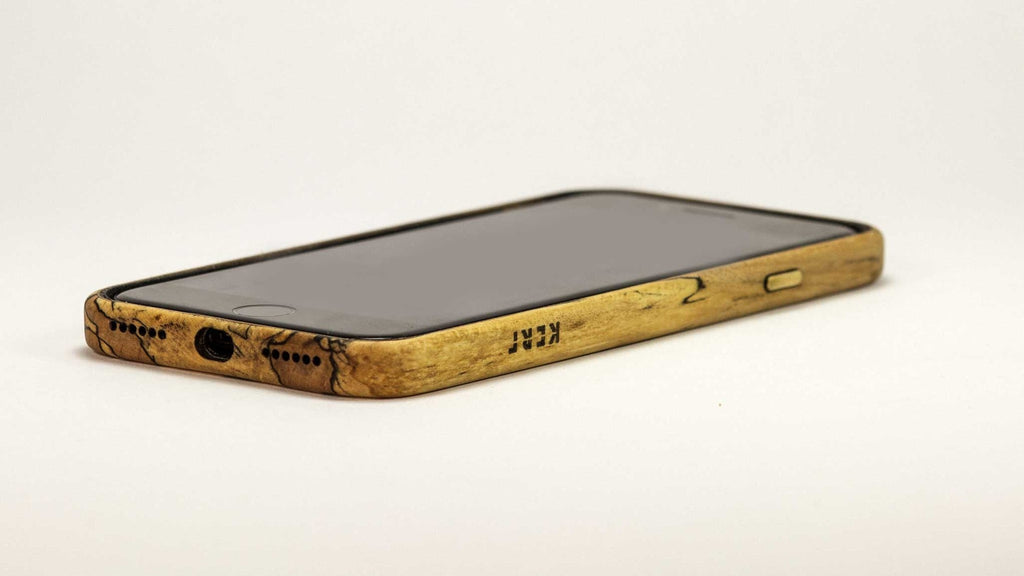 Wood iPhone 7 Plus Case - spalted maple - screen up studio view -  Kerfcase - Lifestyle