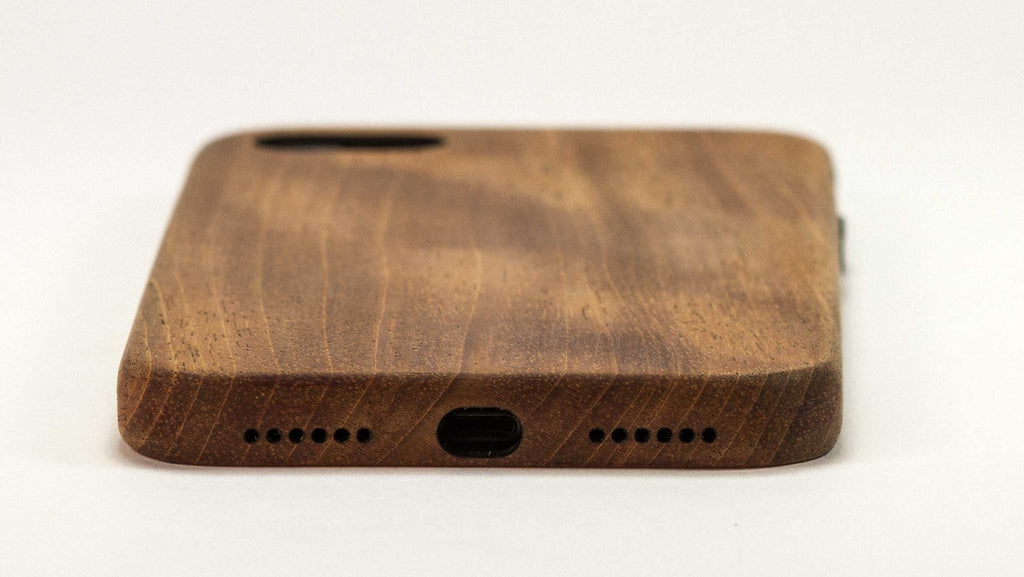 wood iPhone 7 Case - mahogany - end view studio - lifestyle