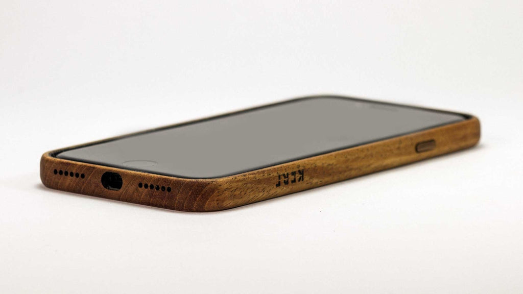 wood iPhone 7 Case - mahogany - screen up view studio - lifestyle