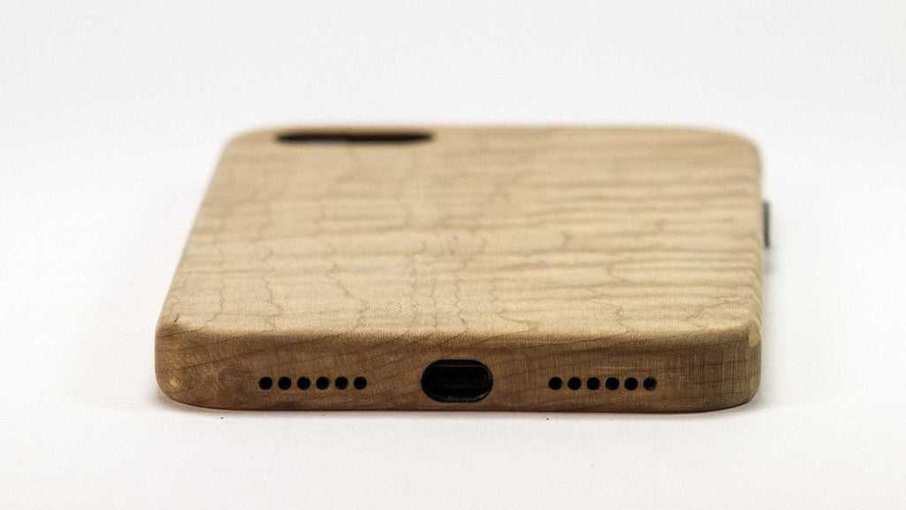 Wood iPhone 7 Plus Case - maple - bottom view studio -  Kerfcase - Lifestyle