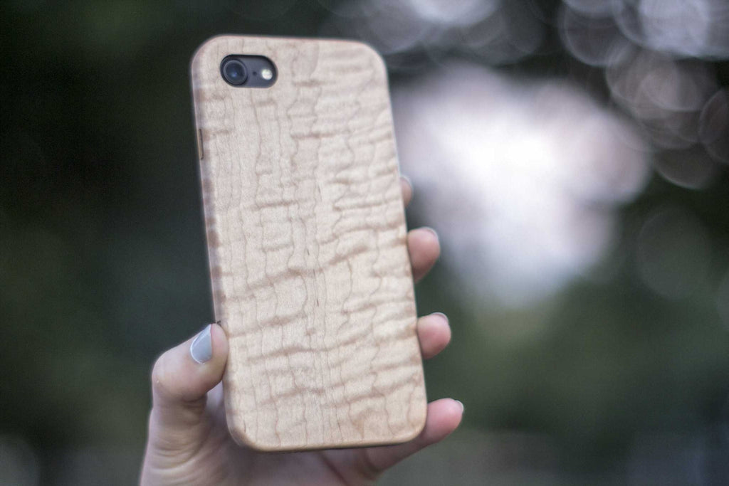 wood iPhone 7 Case - maple - back view outside tree - lifestyle