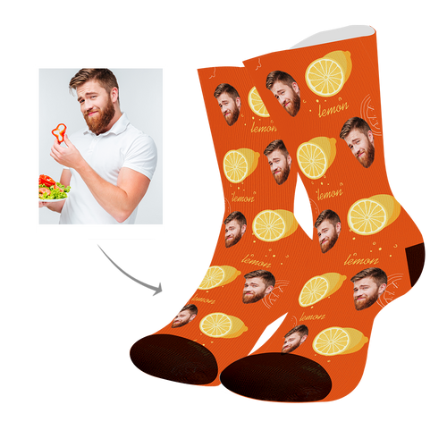 Custom Face Socks With Lemon