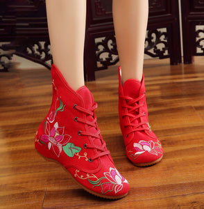 Mandala embroidered cloth boots
