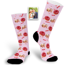 Load image into Gallery viewer, Custom Face Socks With Doughnut