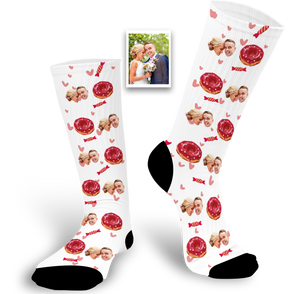 Custom Face Socks With Doughnut