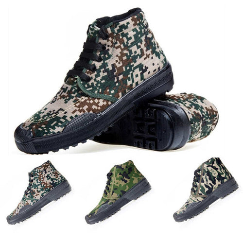 Spring Autumn Outdoor Sport Shoes Unisex Climbing Trainin Ankle Boots Military Camouflage Canvas Rubber Bottom Liberation Shoes