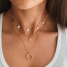 Load image into Gallery viewer, Bohemian Multi Layered Necklace for Women Vintage Portrait Coin Star Moon Pendant Necklace Geometric Collier Collares