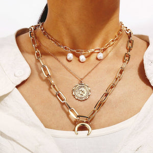 Bohemian Multi Layered Necklace for Women Vintage Portrait Coin Star Moon Pendant Necklace Geometric Collier Collares
