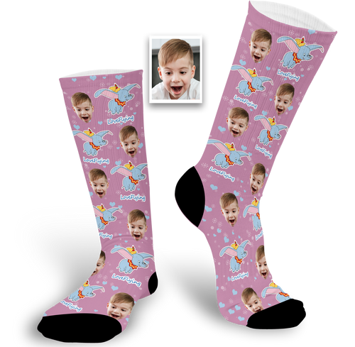 Custom Photo Socks With Dumbo