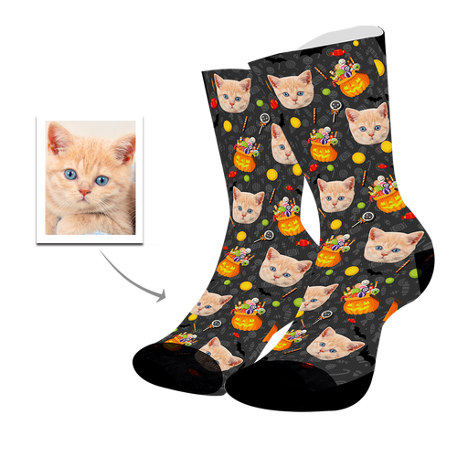 Custom Cat Face Socks