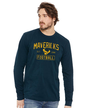 Open image in slideshow, Unisex Long Sleeve Sueded Tee -Mavericks Football Est.1996 : Heather Grey