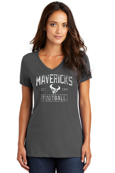 Ladies V-Neck Mavericks Football Grey with Est. '96 Logo