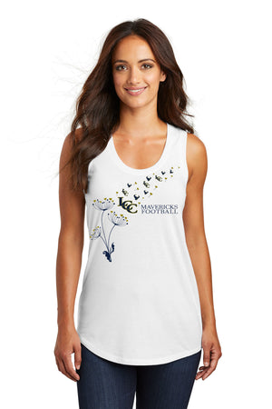 "Open image in slideshow, 201 - Ladies Tri-Blend Racerback Tank  Mavericks ""Wish""  Flower  : White"